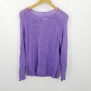 Eileen Fisher 100%Linen Lavender Open Knit Sweater